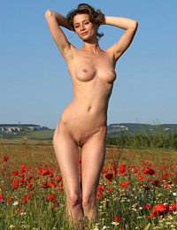 Model abby in poppies